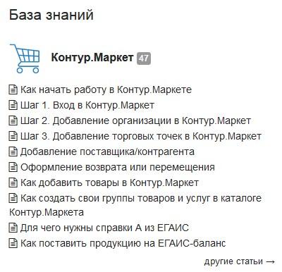 База знаний с инструкциями пользователя Контур.маркет