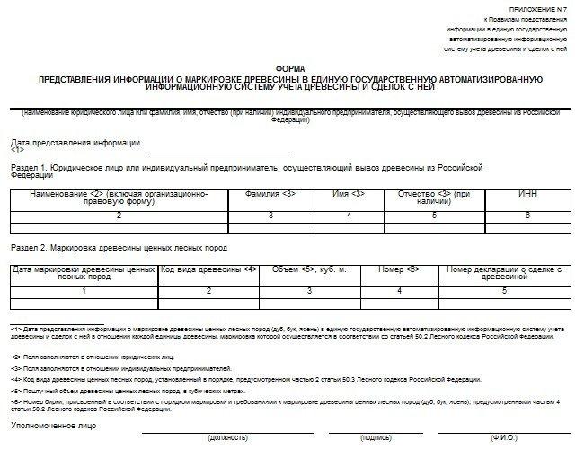 Форма предоставления информации о маркировке древесины в ЕГАИС ЛЕС учета древесины и сделок с ней