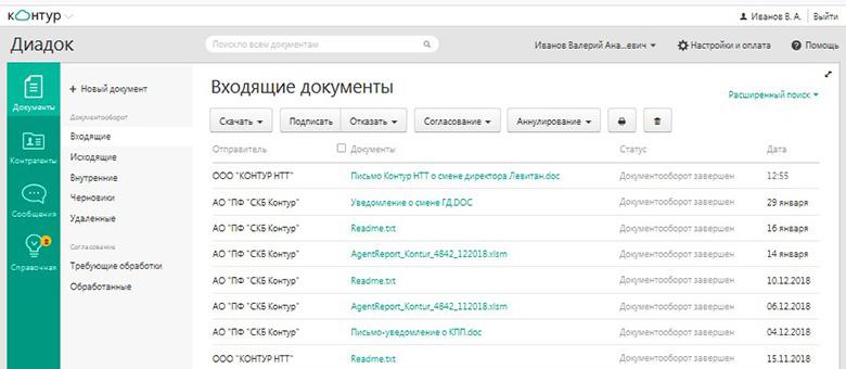 интерфейс оператора электронного документооборота Контур.Диадок