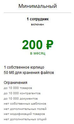 тариф Минимальный в сервисе Моя торговля (Сбербанк)
