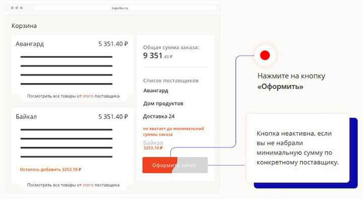 корзина с товарами на сайте на полке.ру
