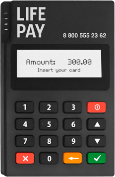 Мобильный платежный терминал Life Pay для приема оплаты по картам