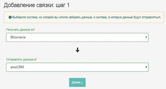 связка сервисов ВК и amoCRM