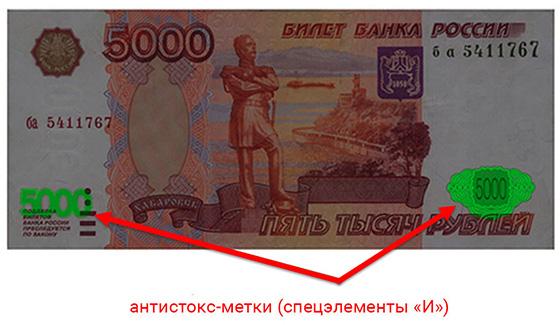 антистокс-метки на деньгах, известные так же как спецэлементы «И»