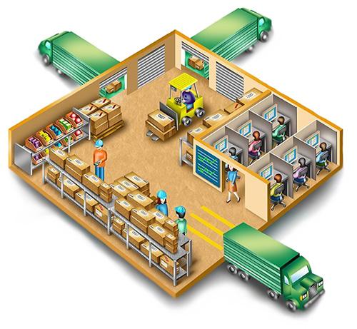 работники на складе, работающем по системе кросс-докинг